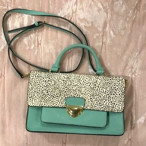 Turquoise and Animal Print Gianni Bini Purse